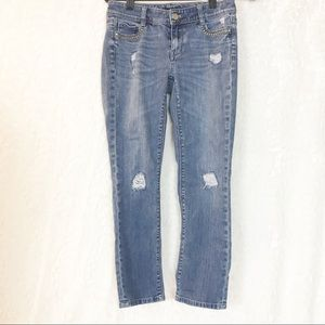 WHBM Distressed Jeans Blanc 00 slim crop
